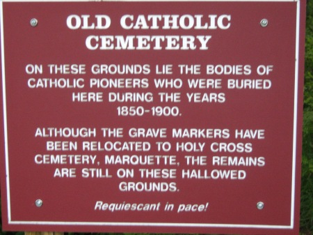 Sign that today marks the Old Catholic Cemetery